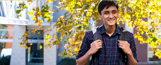 Photo of a student on the Portland Campus